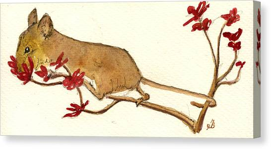 Mice Canvas Print - Mouse Flowers by Juan  Bosco