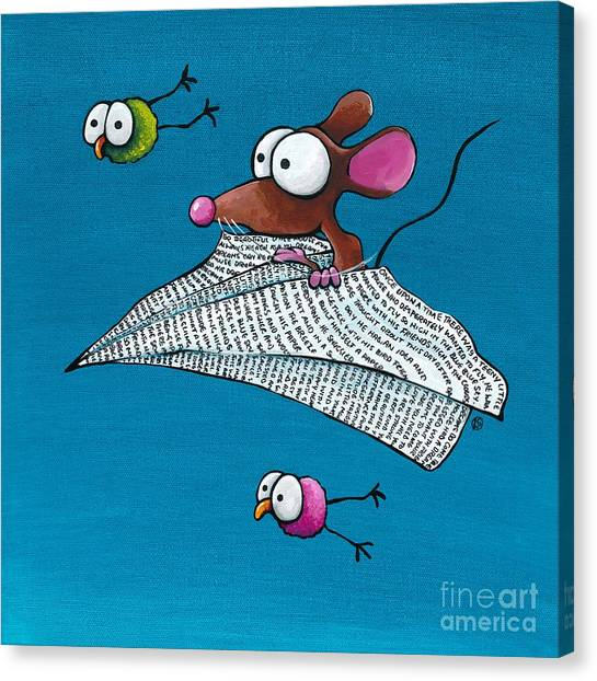 Paper Planes Canvas Print - Mouse In His Paper Aeroplane by Lucia Stewart