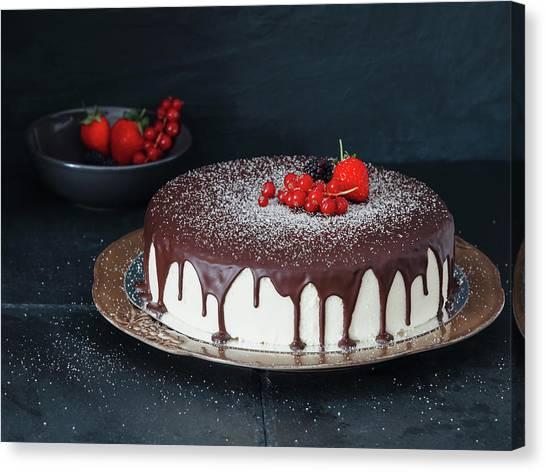 Mousse Cake With Chocolate Icing And Canvas Print by Eugene Mymrin