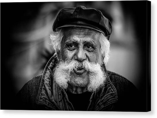 Old Man Canvas Print - Moustache Man by Rabia Basha