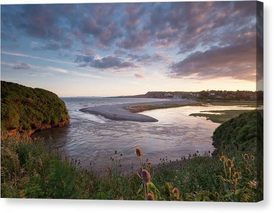 Cliff Burton Canvas Print - Mouth Of The River Otter And Pebble by Adam Burton / Robertharding