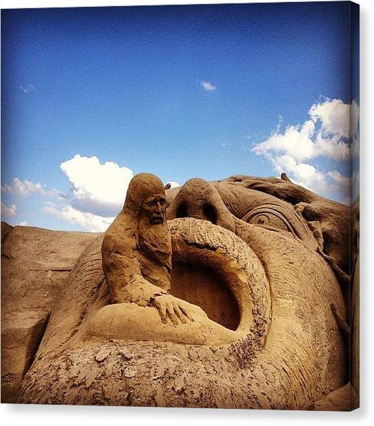 Sand Castles Canvas Print - #mouth #statue #sand #castle #beird by Miki Mielonen