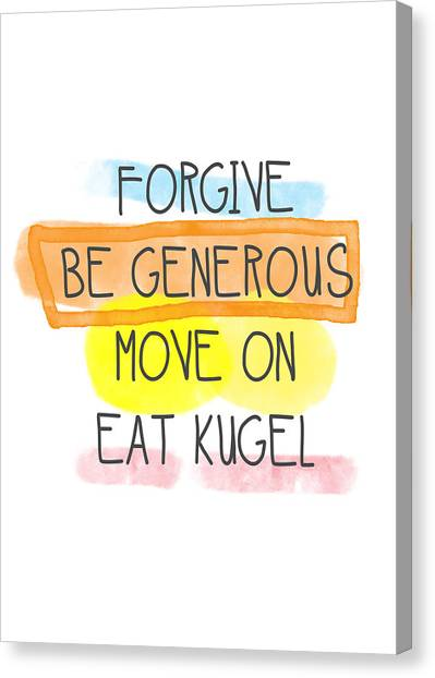 Jewish Art Canvas Print - Move On And Eat Kugel by Linda Woods
