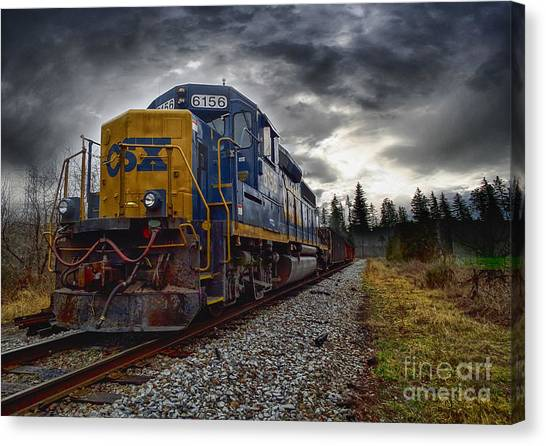 Moving Along In A Train Engine Canvas Print