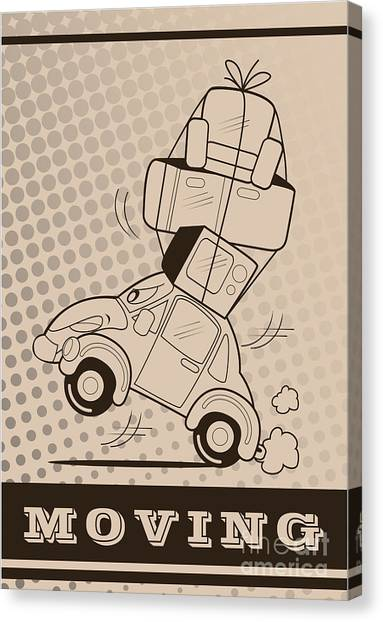 Moving Car Canvas Print by Fun Way Illustration