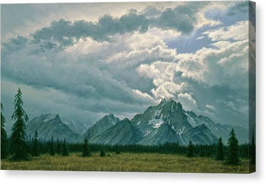 Grand Teton Canvas Print - Moving Clouds-mount Moran by Paul Krapf