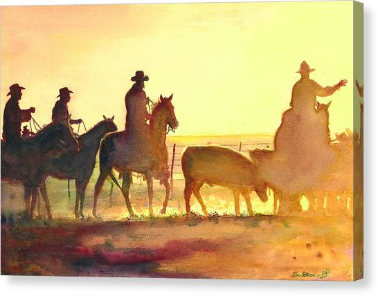 Texas Canvas Print - Moving Cows by Don Dane