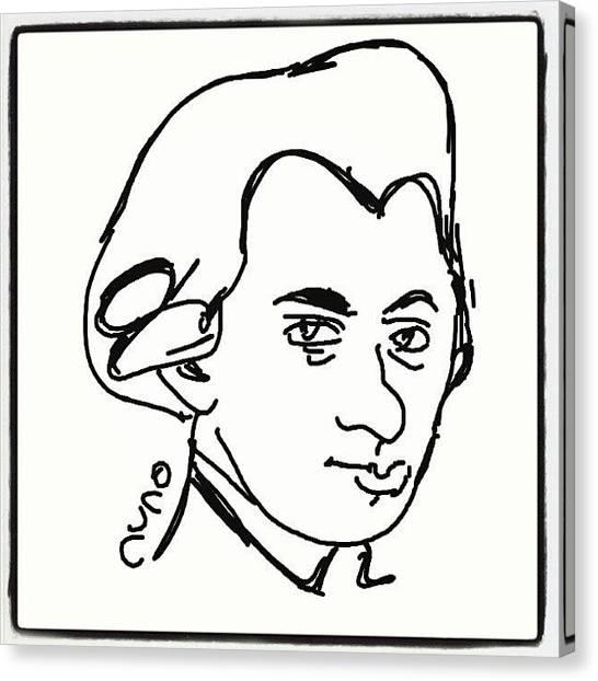 Mozart Canvas Print - #mozartds #cartoon #caricatures #sketch by Nuno Marques