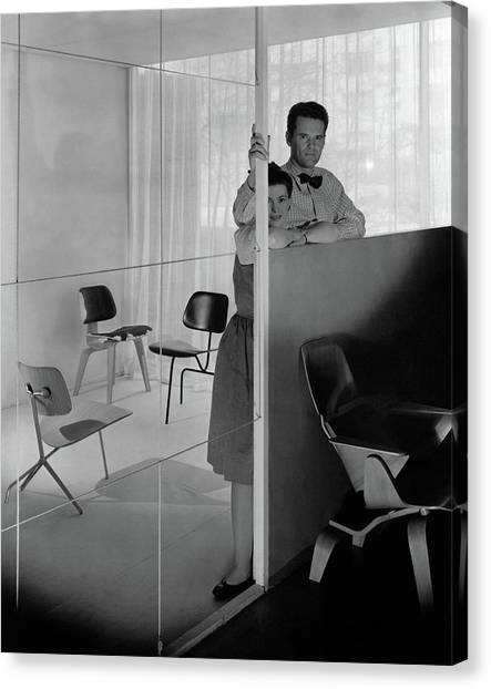 Mr And Mrs Charles Eames At The Museum Of Modern Canvas Print