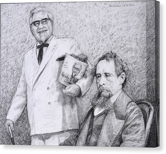 Kentucky Canvas Print - Mr Chicken And Mr Dickens by James W Johnson