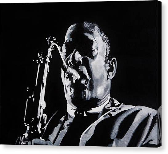 Saxophones Canvas Print - Mr Coltrane by Brian Broadway