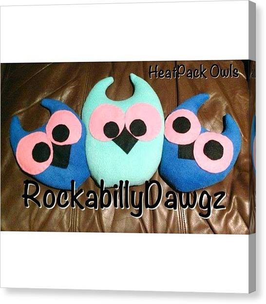 Owls Canvas Print - Mr, Mrs & Baby Owl 💜 Heat Pack by Avril O