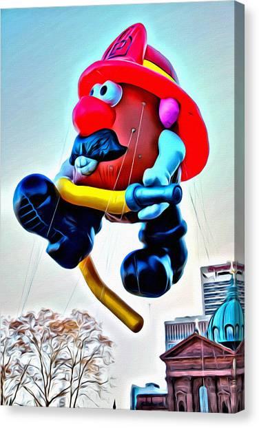 Macys Parade Canvas Print - Mr. Potato Fireman Balloon by Alice Gipson
