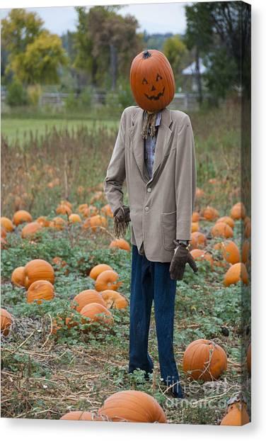 Pumpkin Patch Canvas Print - Mr. Pumpkin Head by Juli Scalzi