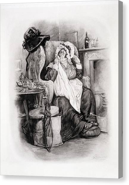 Drunk Canvas Print - Mrs Gamp, From Charles Dickens A Gossip by Frederick Barnard