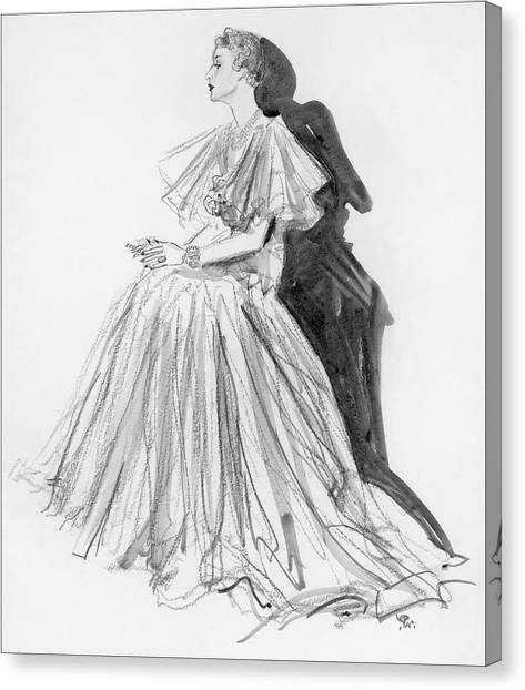 Indoors Canvas Print - Mrs. Jay O'brian Wearing A Grey Tulle Dress by Porter Woodruff