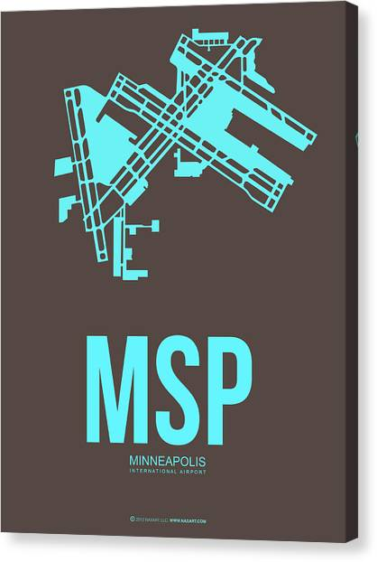 Minnesota Canvas Print - Msp Minneapolis Airport Poster 1 by Naxart Studio