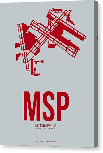 Minnesota Canvas Print - Msp Minneapolis Airport Poster 3 by Naxart Studio