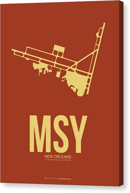 Mississippi Canvas Print - Msy New Orleans Airport Poster 1 by Naxart Studio