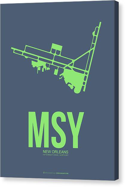 Mississippi Canvas Print - Msy New Orleans Airport Poster 2 by Naxart Studio