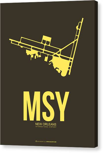 New Orleans Canvas Print - Msy New Orleans Airport Poster 3 by Naxart Studio