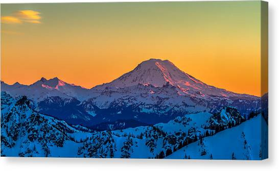 Mt Adams Sunset Review-2 Canvas Print