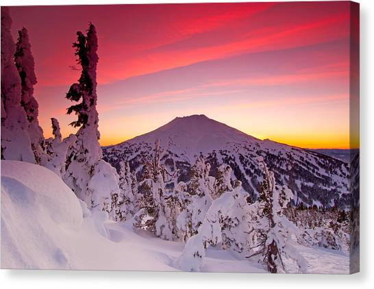 Bachelor Canvas Print - Mt. Bachelor Winter Twilight by Kevin Desrosiers