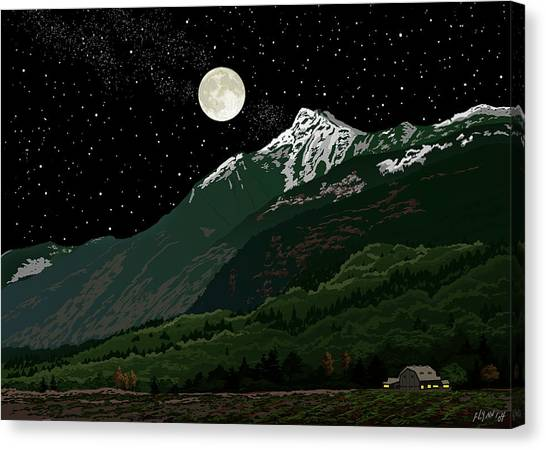 Mt Cheam In Moonlight Canvas Print