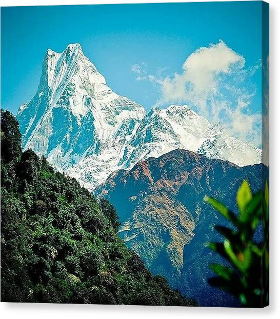 Sunset Horizon Canvas Print - Mt. Fish Tail,  Machupuchare by Raimond Klavins