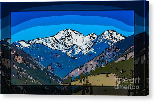 Canvas Print featuring the painting Mt Gardner In The Spring Abstract Painting  by Omaste Witkowski