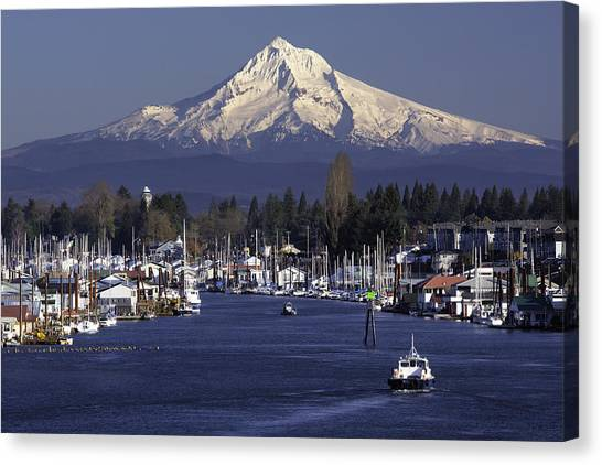 Mt. Hood Canvas Print - Hayden Island And Mt. Hood by Patrick Campbell