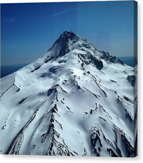 Helicopters Canvas Print - Mt. Hood From My Seat In The News by Mike Warner