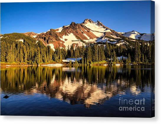 Mt. Jefferson Reflected In Alpine Lake Canvas Print