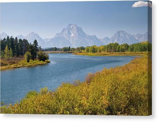 Mt Moran And Snake River Seen From Canvas Print by Glenn Van Der Knijff