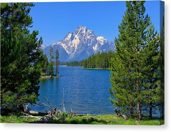 Canvas Print featuring the photograph Mt Moran At Half Moon Bay by Greg Norrell