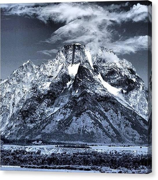 Tetons Canvas Print - Mt Moran With Its Dark Streak Of Metamorphic Rock by Howard Haile