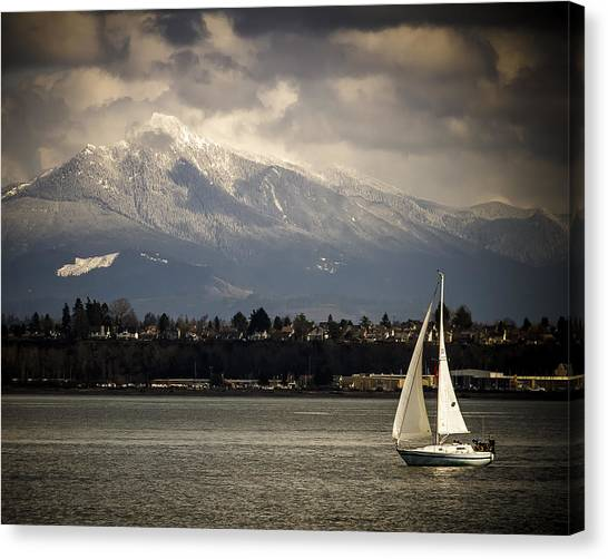 Mt Philchuck And Sailboat Canvas Print