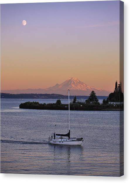 Sunrise Canvas Print - Mt. Rainier Afterglow by Adam Romanowicz