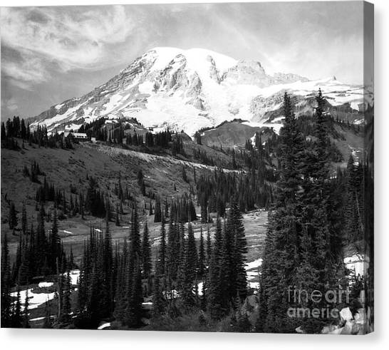 Canvas Print featuring the photograph Mt. Rainier And Paradise Lodge 1950 by Merle Junk