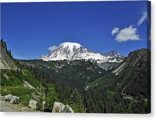 Mt Rainier Between The Valley Canvas Print