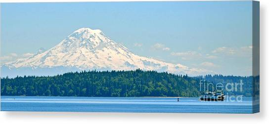 Mt Rainier From The Sound Canvas Print