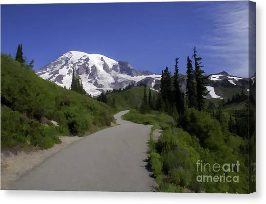 Mt Rainier Painted Canvas Print