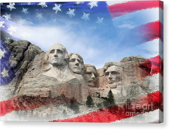 Mt Rushmore Flag Frame Canvas Print