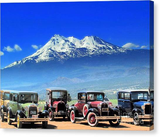 Mt. Shasta And Retro Cars  Canvas Print