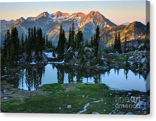 Mt. Timpanogos At Sunrise From Silver Glance Lake Canvas Print