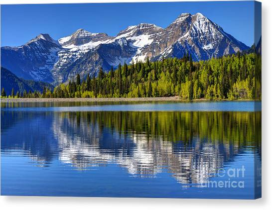 Wasatch Canvas Print - Mt. Timpanogos Reflected In Silver Flat Reservoir - Utah by Gary Whitton