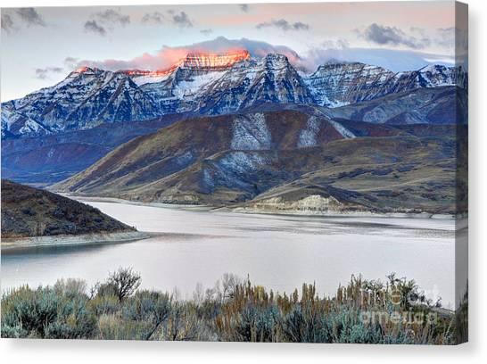 Lake Sunrises Canvas Print - Mt. Timpanogos Winter Sunrise by Gary Whitton