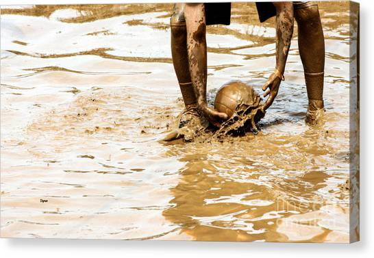 Volleyball Canvas Print - Mud Ball by Steven Digman
