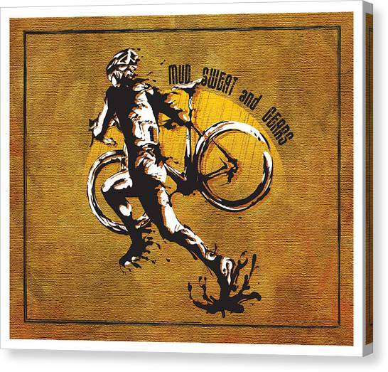 Canvas Print featuring the painting Mud Sweat And Gears by Sassan Filsoof