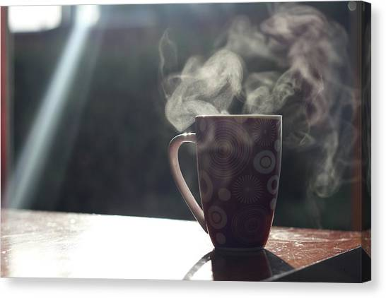 Mug With Sunlight And Steam Canvas Print